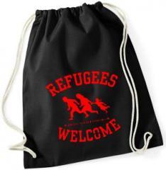 """Zum Sportbeutel """"Refugees welcome (rot)"""" für 8,00 € gehen."""