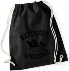 """Zum Sportbeutel """"Refugees welcome (schwarz)"""" für 8,00 € gehen."""