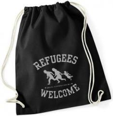 """Zum Sportbeutel """"Refugees welcome (schwarz/grauer Druck)"""" für 7,80 € gehen."""