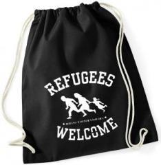 """Zum Sportbeutel """"Refugees welcome (weiß)"""" für 7,80 € gehen."""