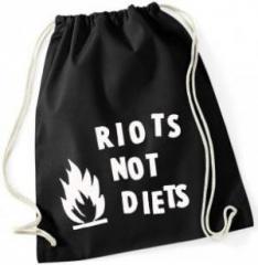 """Zum Sportbeutel """"Riots not diets"""" für 7,80 € gehen."""