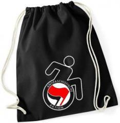 """Zum Sportbeutel """"RollifahrerIn Antifaschistische Aktion (rot/schwarz)"""" für 7,80 € gehen."""