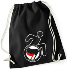"""Zum Sportbeutel """"RollifahrerIn Antifaschistische Aktion (schwarz/rot)"""" für 7,80 € gehen."""