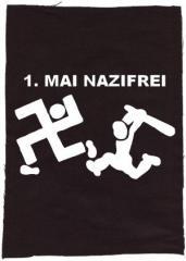 """Zum Rückenaufnäher """"1. Mai Nazifrei"""" für 3,00 € gehen."""