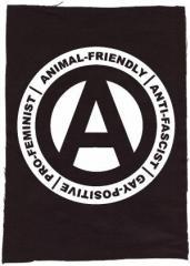 """Zum Rückenaufnäher """"Animal-Friendly - Anti-Fascist - Gay Positive - Pro Feminist"""" für 3,00 € gehen."""