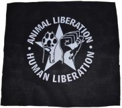 """Zum Rückenaufnäher """"Animal Liberation - Human Liberation (mit Stern)"""" für 2,92 € gehen."""
