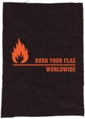 """Zum Rückenaufnäher """"Burn your Flag - Worldwide"""" für 3,00 € gehen."""