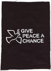 """Zum Rückenaufnäher """"Give Peace A Chance"""" für 3,00 € gehen."""
