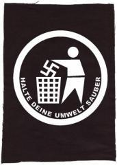 """Zum Rückenaufnäher """"Halte Deine Umwelt sauber"""" für 3,00 € gehen."""