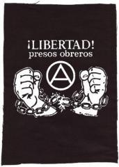"""Zum Rückenaufnäher """"Libertad presos obreros!"""" für 3,00 € gehen."""