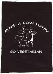 """Zum Rückenaufnäher """"Make a Cow happy - Go Vegetarian"""" für 3,00 € gehen."""