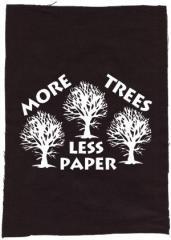 """Zum Rückenaufnäher """"More Trees - Less Paper"""" für 3,00 € gehen."""
