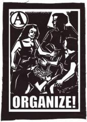 """Zum Rückenaufnäher """"Organize"""" für 3,00 € gehen."""