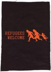 """Zum Rückenaufnäher """"Refugees welcome (running family)"""" für 3,00 € gehen."""