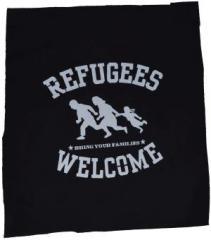 """Zum Rückenaufnäher """"Refugees welcome (weiß)"""" für 3,00 € gehen."""