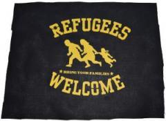 """Zum Rückenaufnäher """"Refugees Welcome"""" für 3,00 € gehen."""