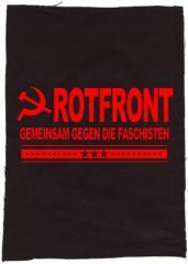 """Zum Rückenaufnäher """"Rotfront - Gemeinsam gegen die Faschisten"""" für 3,00 € gehen."""