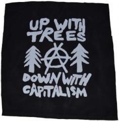 """Zum Rückenaufnäher """"Up with Trees - Down with Capitalism"""" für 2,92 € gehen."""