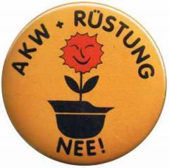 """Zum 37mm Magnet-Button """"AKW + Rüstung Nee!"""" für 2,44 € gehen."""
