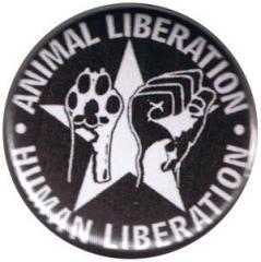 """Zum 37mm Magnet-Button """"Animal Liberation - Human Liberation (mit Stern)"""" für 2,44 € gehen."""
