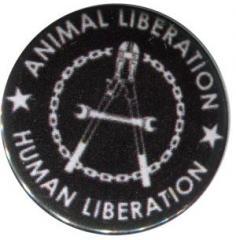 """Zum 37mm Magnet-Button """"Animal Liberation - Human Liberation (Zange)"""" für 2,50 € gehen."""