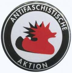 """Zum 37mm Magnet-Button """"Antifaschistische Aktion (Enten)"""" für 2,50 € gehen."""