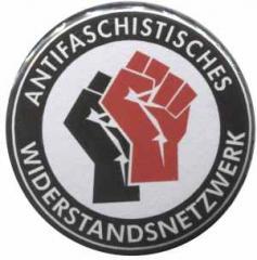 """Zum 37mm Magnet-Button """"Antifaschistisches Widerstandsnetzwerk - Fäuste (schwarz/rot)"""" für 2,70 € gehen."""