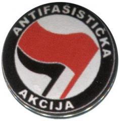 """Zum 37mm Magnet-Button """"Antifasisticka Akcija (rot/schwarz)"""" für 2,50 € gehen."""