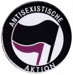 """Zum 37mm Magnet-Button """"Antisexistische Aktion (schwarz/lila)"""" für 2,44 € gehen."""