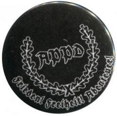 """Zum 37mm Magnet-Button """"APPD Ährenkranz Frieden! Freiheit! Abenteuer! (schwarz)"""" für 2,50 € gehen."""