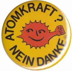 """Zum 37mm Magnet-Button """"Atomkraft? Nein Danke - mit Faust"""" für 2,44 € gehen."""
