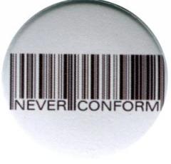 """Zum 37mm Magnet-Button """"Barcode - Never conform"""" für 2,50 € gehen."""