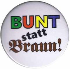 """Zum 37mm Magnet-Button """"Bunt statt braun"""" für 2,50 € gehen."""