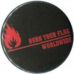 """Zum 37mm Magnet-Button """"Burn your flag - worldwide (red)"""" für 2,50 € gehen."""