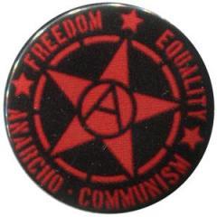 """Zum 37mm Magnet-Button """"Freedom - Equality - Anarcho - Communism"""" für 2,50 € gehen."""