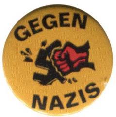 """Zum 37mm Magnet-Button """"Gegen Nazis - gelb"""" für 2,50 € gehen."""