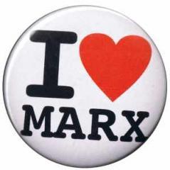 """Zum 37mm Magnet-Button """"I love Marx"""" für 2,50 € gehen."""