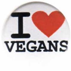 """Zum 37mm Magnet-Button """"I love vegans"""" für 2,50 € gehen."""