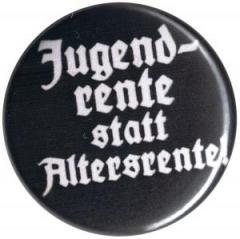 """Zum 37mm Magnet-Button """"Jugendrente statt Altersrente"""" für 2,50 € gehen."""