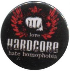 """Zum 37mm Magnet-Button """"mixed sexual arts love Hardcore - hate homophobia"""" für 2,50 € gehen."""