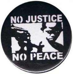 """Zum 37mm Magnet-Button """"No Justice - No Peace"""" für 2,50 € gehen."""