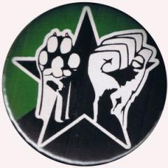 """Zum 37mm Magnet-Button """"Pfote und Faust (schwarz/grüner Stern)"""" für 2,50 € gehen."""