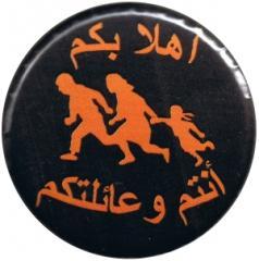 """Zum 37mm Magnet-Button """"Refugees welcome (arabisch)"""" für 2,44 € gehen."""