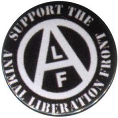 """Zum 37mm Magnet-Button """"support the Animal Liberation Front (schwarz)"""" für 2,50 € gehen."""
