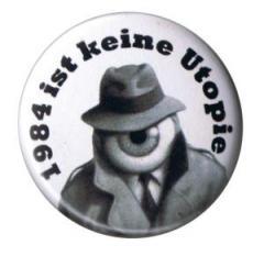 """Zum 50mm Magnet-Button """"1984 ist keine Utopie"""" für 3,00 € gehen."""