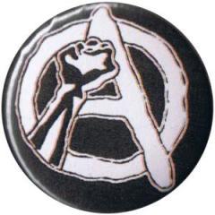 """Zum 50mm Magnet-Button """"Anarchie Faust (weiß/schwarz)"""" für 2,92 € gehen."""
