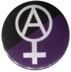 """Zum 50mm Magnet-Button """"Anarcho-Feminismus (schwarz/lila)"""" für 3,00 € gehen."""