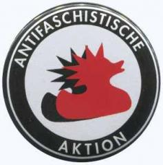 """Zum 50mm Magnet-Button """"Antifaschistische Aktion (Enten)"""" für 3,00 € gehen."""