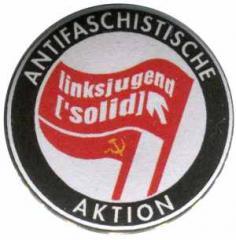 """Zum 50mm Magnet-Button """"Antifaschistische Aktion Linksjugend"""" für 3,12 € gehen."""