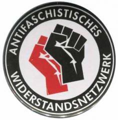 """Zum 50mm Magnet-Button """"Antifaschistisches Widerstandsnetzwerk - Fäuste (rot/schwarz)"""" für 3,12 € gehen."""